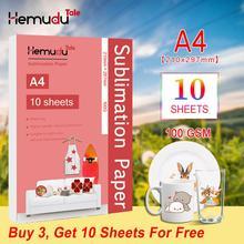 A4 Sublimation papier de transfert de chaleur 100G 10 feuilles pour Polyester T Shirt coussin tissus coque de téléphone conception dimpression