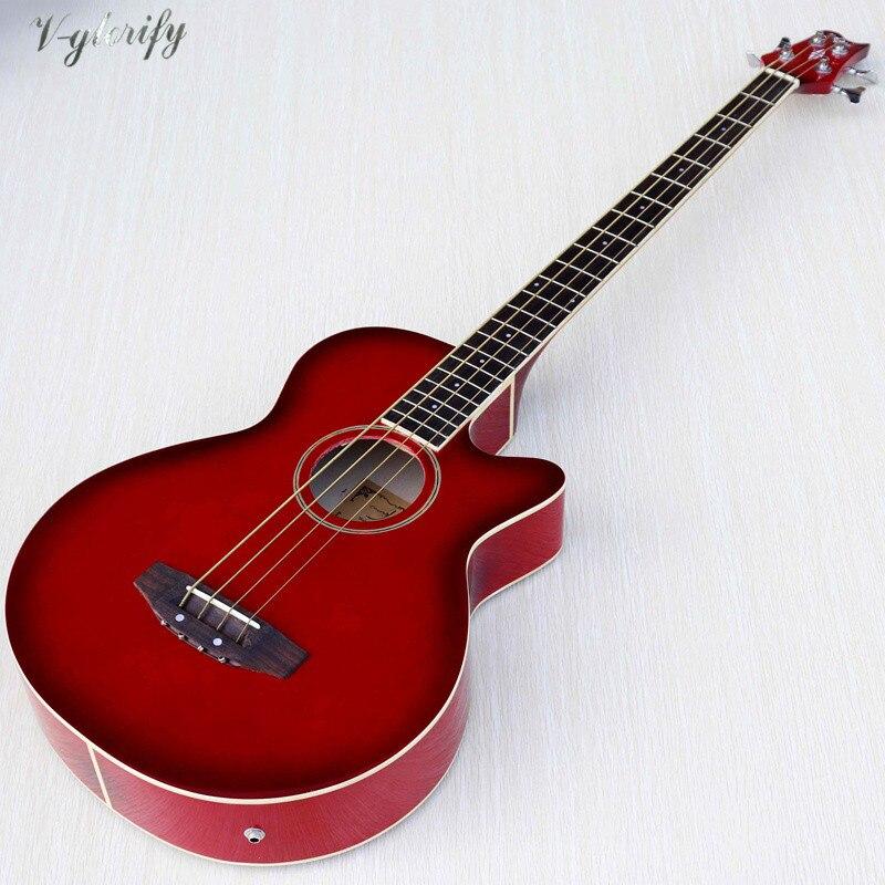 Guitare basse électrique acoustique 4 cordes 43 pouces cutway design 22 frettes basse haute brillance guitarra avec fonction accordeur EQ