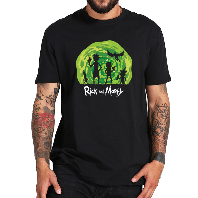 Rick And Morty Tshirt Hot Design 100% Cotton Short Sleeved Space Time Gate Graphic Print T-shirt EU Size