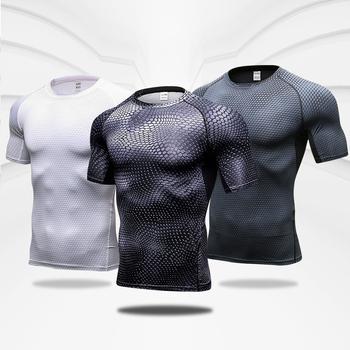 Szybkoschnący trening koszulka do biegania kompresja topy Fitness oddychająca koszulka siłownia koszulki odzież Rashguard męskie koszulki sportowe męskie tanie i dobre opinie Lovmove CN (pochodzenie) summer Wiosna AUTUMN Winter Poliester Pasuje mniejszy niż zwykle proszę sprawdzić ten sklep jest dobór informacji