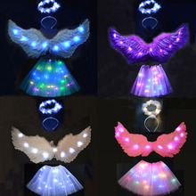 Adult Kids Light Feather Angel Wing Tutu Party Skirt Halo Ring Led Glow Ball Wedding Halloween Decoration Christmas