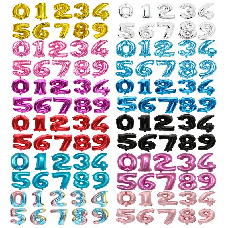 32 ''16'' номер Фольга шар цвета: золотистый, серебристый синий розовый шарики в форме цифр Globos День рождения украшения для детей Baby Shower поставк...