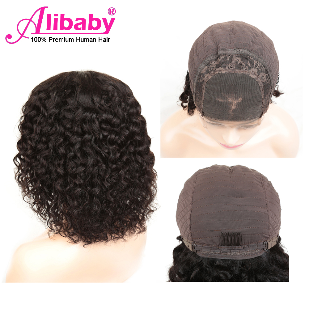 Alibaby Curly Human Hair Wigs Water Wave 4x4 Closure Wig Wet And Wavy Human Hair Lace Wigs Peruvian Lace Closure Wig Remy