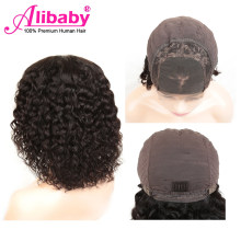 Alibaby Curly Human Hair Wigs Water Wave 4x4 Closure Wig Wet And Wavy Human Hair Lace Wigs Peruvian Lace Closure Wig Remy(China)