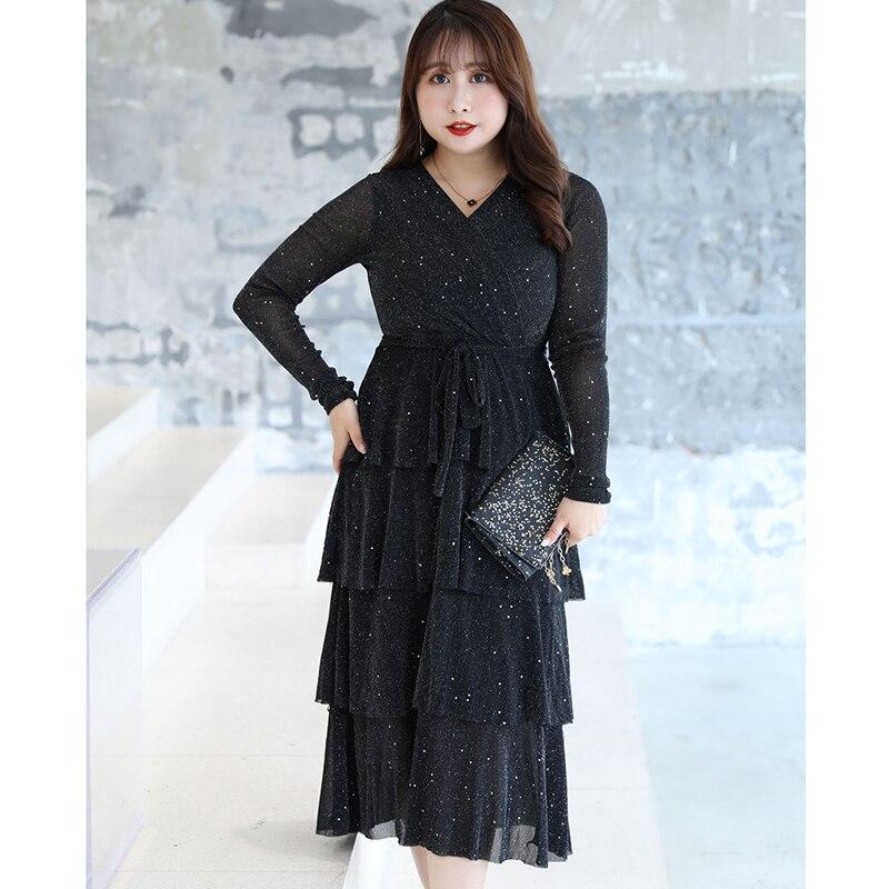 XL-9XL Large size Women Autumn Dress Casual Plus Size 7XL 8XL V Neck Lady Layered Elegant Shiny Party 9XL Vestidos