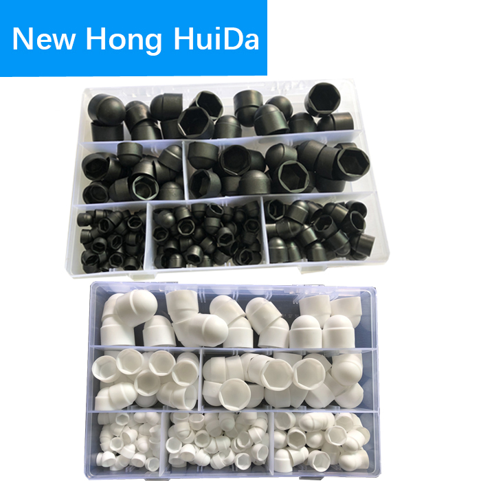 Black White Dome Protection Cap Covers Exposed Hexagon Plastic PE Nut Bolt Assortment Kit