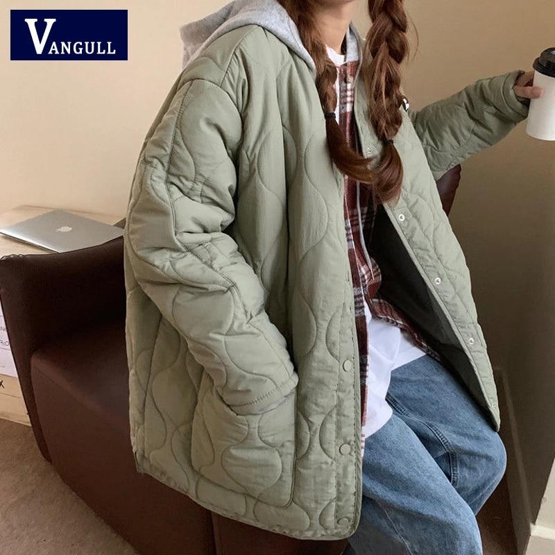 Vangull Casual Single Breasted Pocket Women Jacket Winter Lightweight Loose Female Parkas Coat Solid O-Neck Long Sleeve Outwear