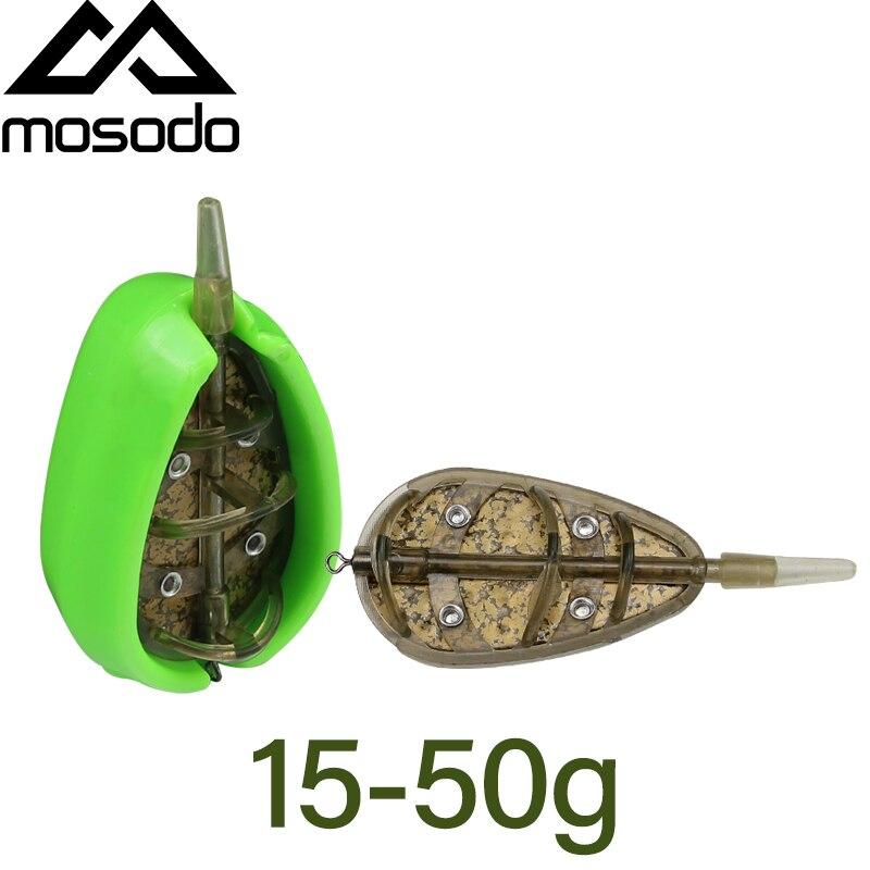Mosodo Carp Fishing Method Feeder Mould 15g 20g 30g 40g 50g Metal Coating Inline Feeder Large Capacity Lead Sinker Bait Thrower