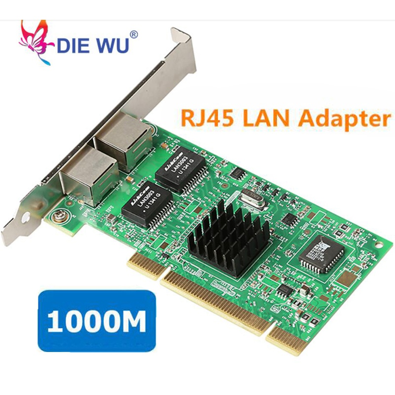 Gigabit Ethernet PCI-Express Network Card 10/100/1000Mbps PCI Network Adapter Dual RJ45 LAN Adapter Controller Converter 82546