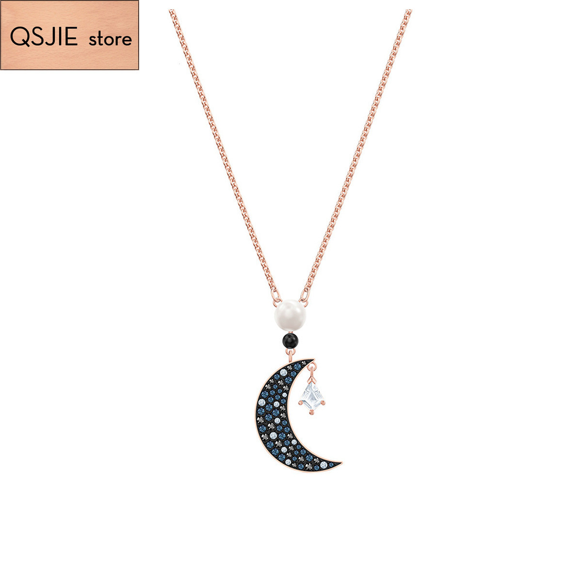 QSJIE High quality 1:1 Swa Star Moon Golden Pendant with black lady Necklace Glamorous fashion jewelry