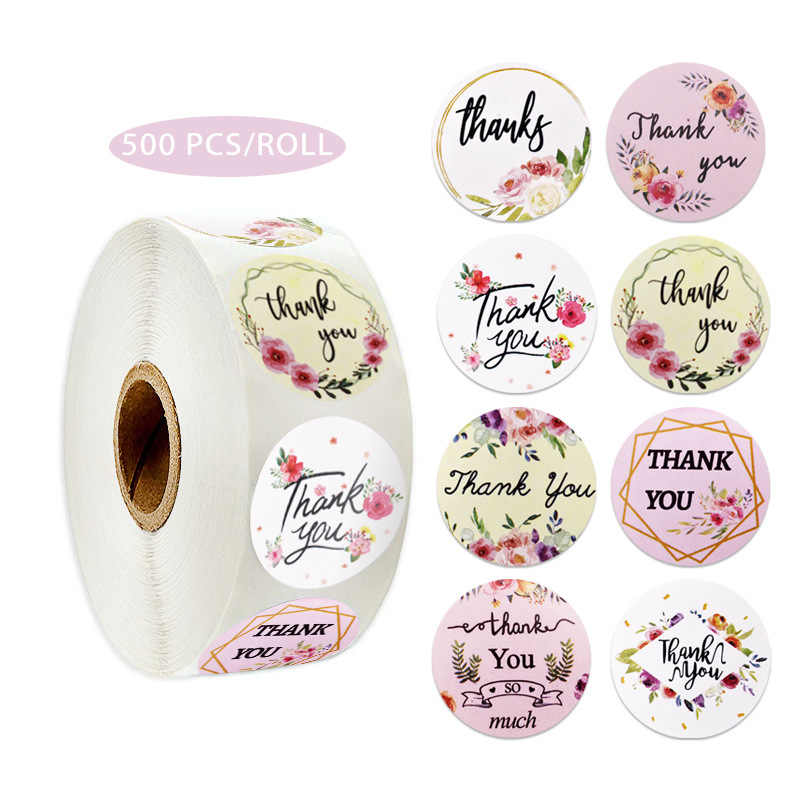 50-500pcs Round Floral Thank You Stickers for Wedding Favors and Party Handmade Stickers Envelope Seal Stationery Sticker