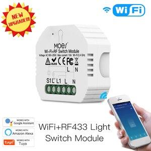90-250V WiFi RF433 Smart Relay Switch Module 1 Gang 1/2 Way Hidden Smart Life/Tuya App Work with Alexa Google Home