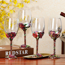 Top Grade Crystal Glass Household Wine Glass Leather Suitcase Set Creative Enamel Goblet Wine Glass(China)
