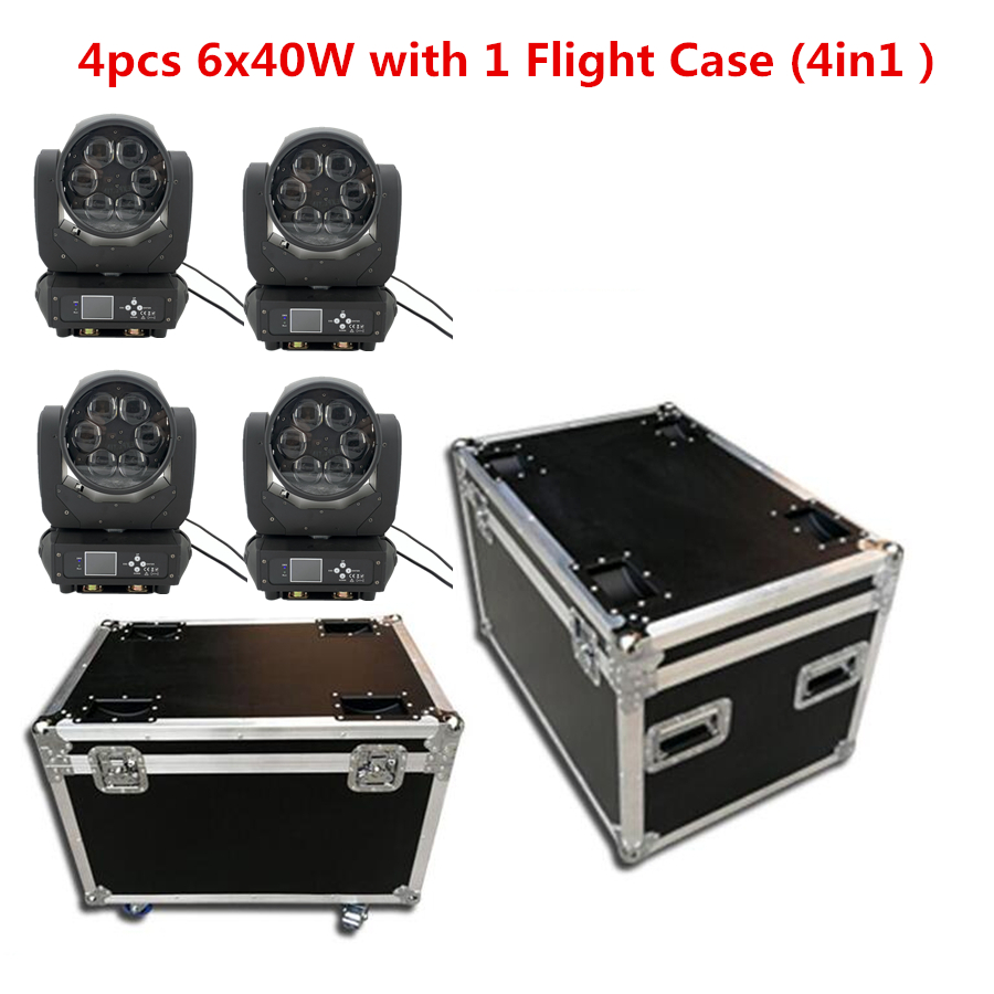 4pcs 6x40W With 1 Flight Case RGBW 4in1 Zoom Moving Head ZOOM 4-36°angel Led Bar Dj Lights Stage Effect Lighting Dmx Controller