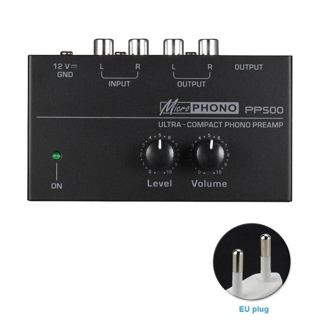 Pp500 ultra compacto volume controles de metal estéreo pré amplificador casa eletrônico portátil com nível áudio phono preamp turntable