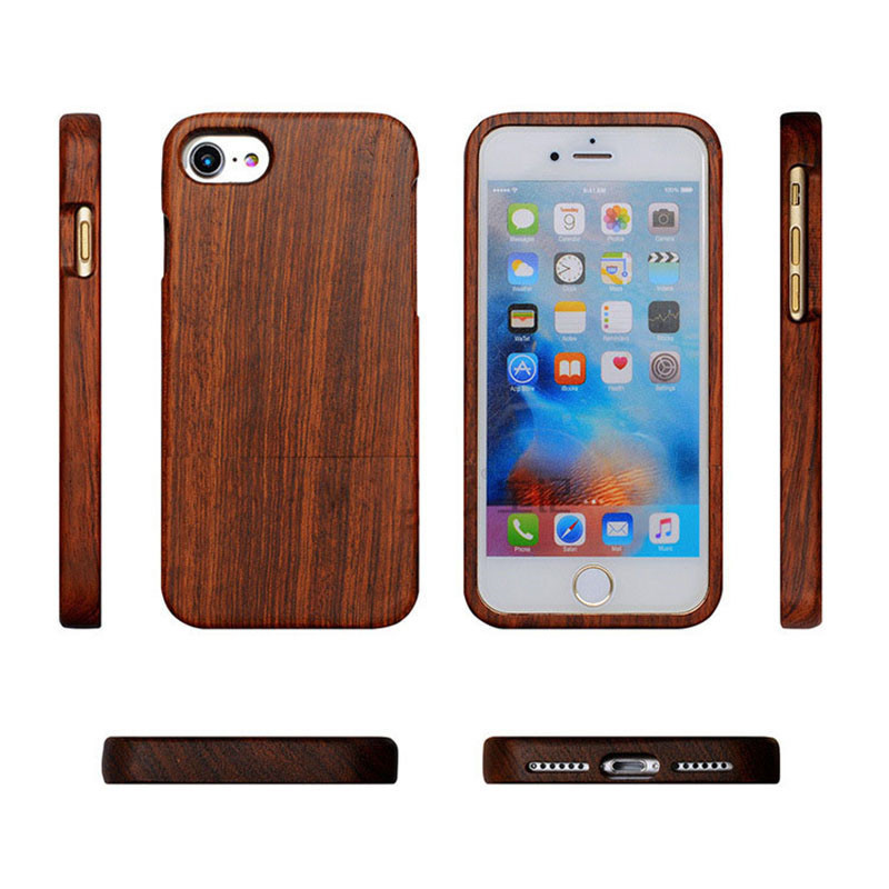 Galleria fotografica 100% Natural Wood Hard Back Case For iPhone 7 6 6S Plus SE 5 5s Real Wooden Walnut Rosewood Bamboo Phone Cases for iPhone7 Cover