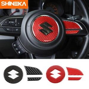 Image 1 - SHINEKA adesivi in fibra di carbonio per Suzuki Jimny 2019 coprivolante per pulsante centrale volante per Suzuki Jimny 2019 2020