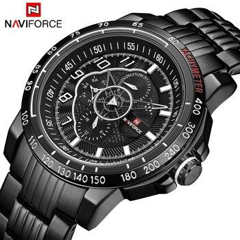 NAVIFORCE NF9180 Sports Watches Men's Quartz Clock Male Military Wrist Watch Gifts for Men-Black