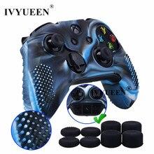 IVYUEEN 9 w 1 dla kontrolera Xbox One X S silikonowa obudowa skóry + 8 sztuk analogowy uchwyt na kciuki czapki dla X Box One X Slim Joystick