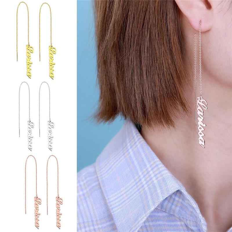 Brincos para Mulheres Placa de Identificação Presente da Dama de Honra Ailin Personalizado Nome Thread Brincos Artesanal Gota Brinco