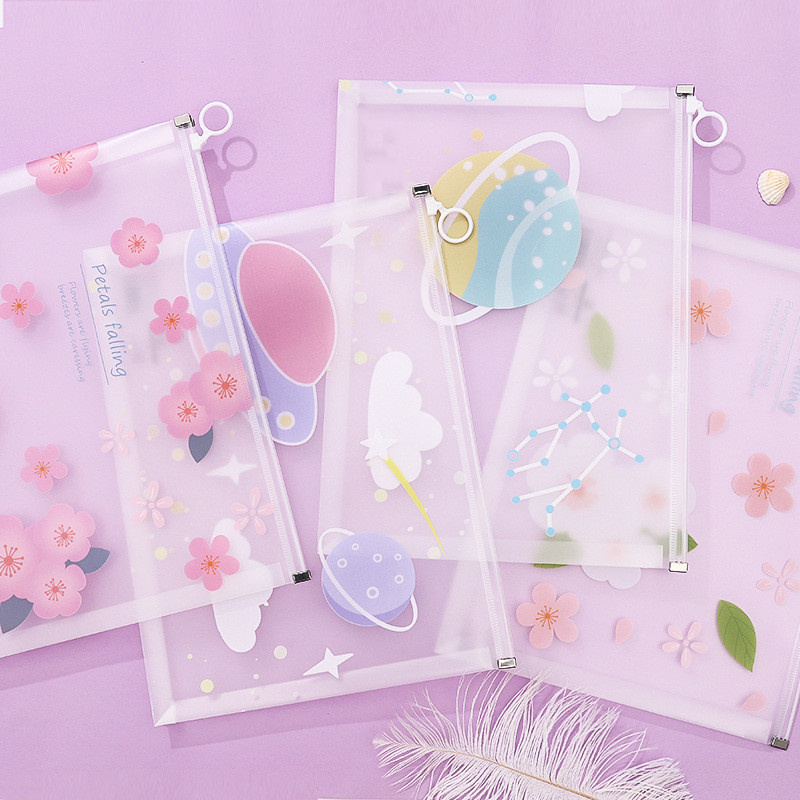 1 Pc Simple A4 File Folder Cute Flower Document Bag Filing Products Stationery Office School Supplies Student Gift