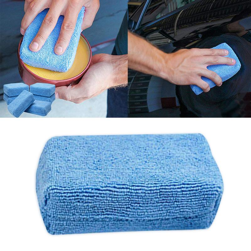 Microfibre Wax Polishing Microfiber Applicators Sponges ClothsCar Detailing Wash Apply Remover Buff Pads Blue For Car Cleaning