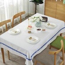 Natural plain cotton linen fabric table cloth fuzzy bull tassel table cloth