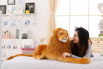 new lovely plush real life lion toy stuffed simulation lion doll gift about 73cm xf2961