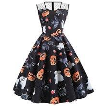 pumpkin print dresses woman party night halloween print vintage o-neck sleeveless elegant dress 2019 plus size gothic clothes plus size halloween cat bat pumpkin print dress
