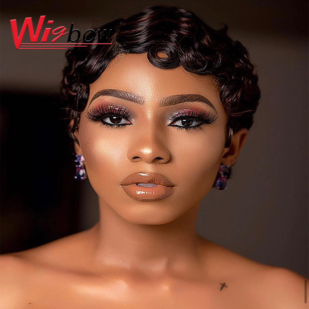 Pixie Cut Wig Natural Curls Short Wigs Human Hair Wigs For Black Women Brazilian Wig Ombre Color P4/30 P1b/BUG 150% Colorful Wig