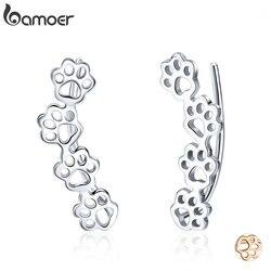 Bamoer venda quente 925 prata esterlina pata trilha gato e cachorro pegadas brincos para mulher prata esterlina jóias sce430