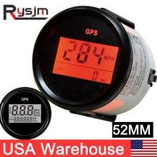 Wasserdicht 52mm GPS Digitale Lcd computer geschwindigkeitsmesser grüne Gauge für Auto Marine Motorrad 0 999 Knoten MPH Kmh Gauge GPS tacho Sensor