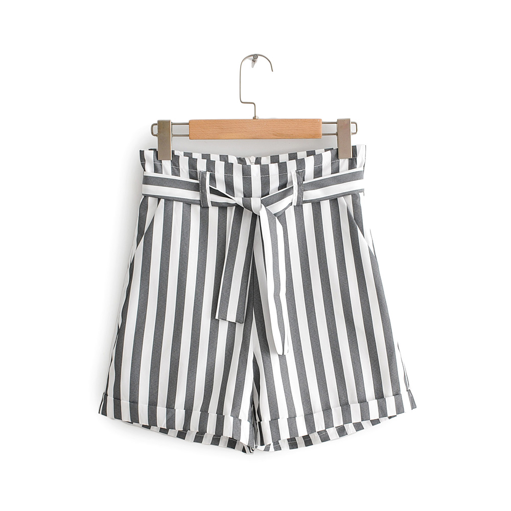 Women Summer Shorts Black Striped Belt Free Drop Shipping SML Polyester Back Invisible Zipper