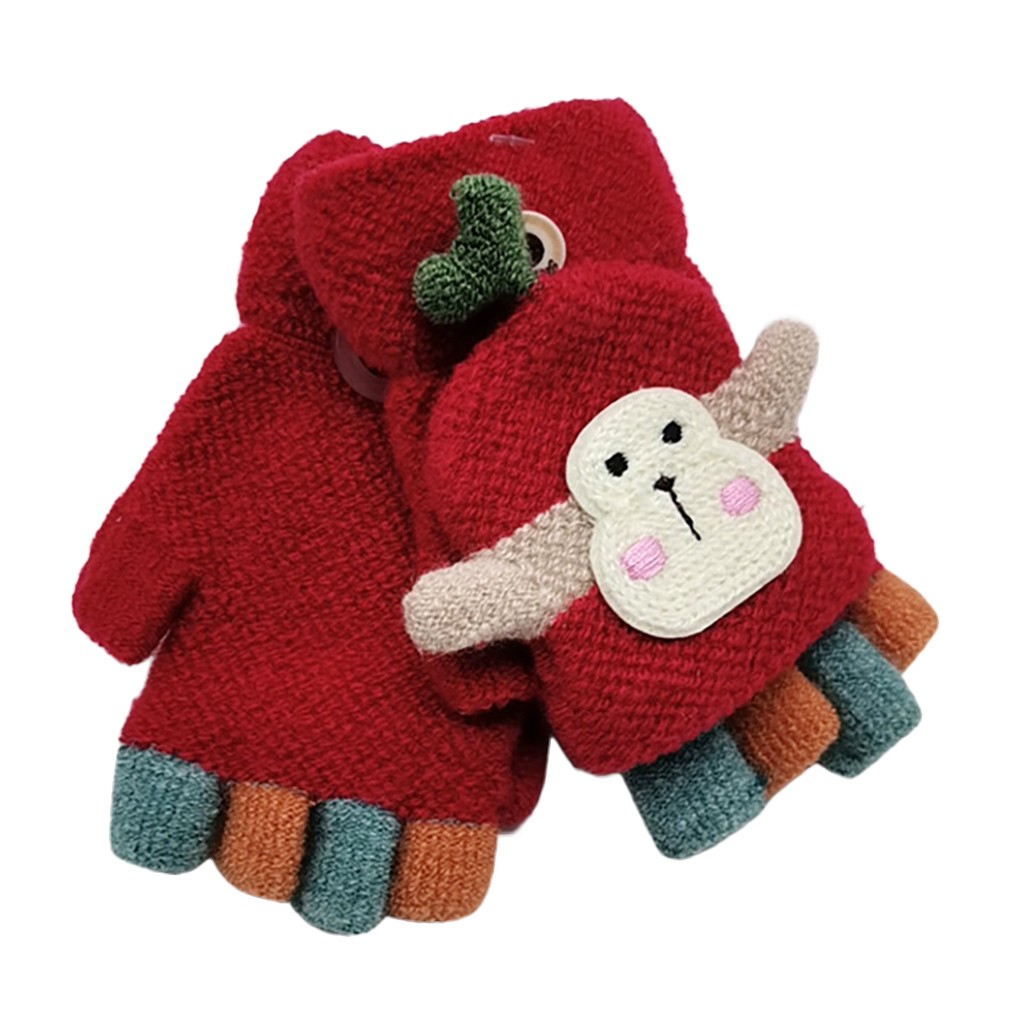 Для малышей, детей, Зимняя Теплая Вязаная безрукавка без пальцев, перчатки-трансформер, удобные перчатки для маленьких мальчиков и девочек - Цвет: Красный