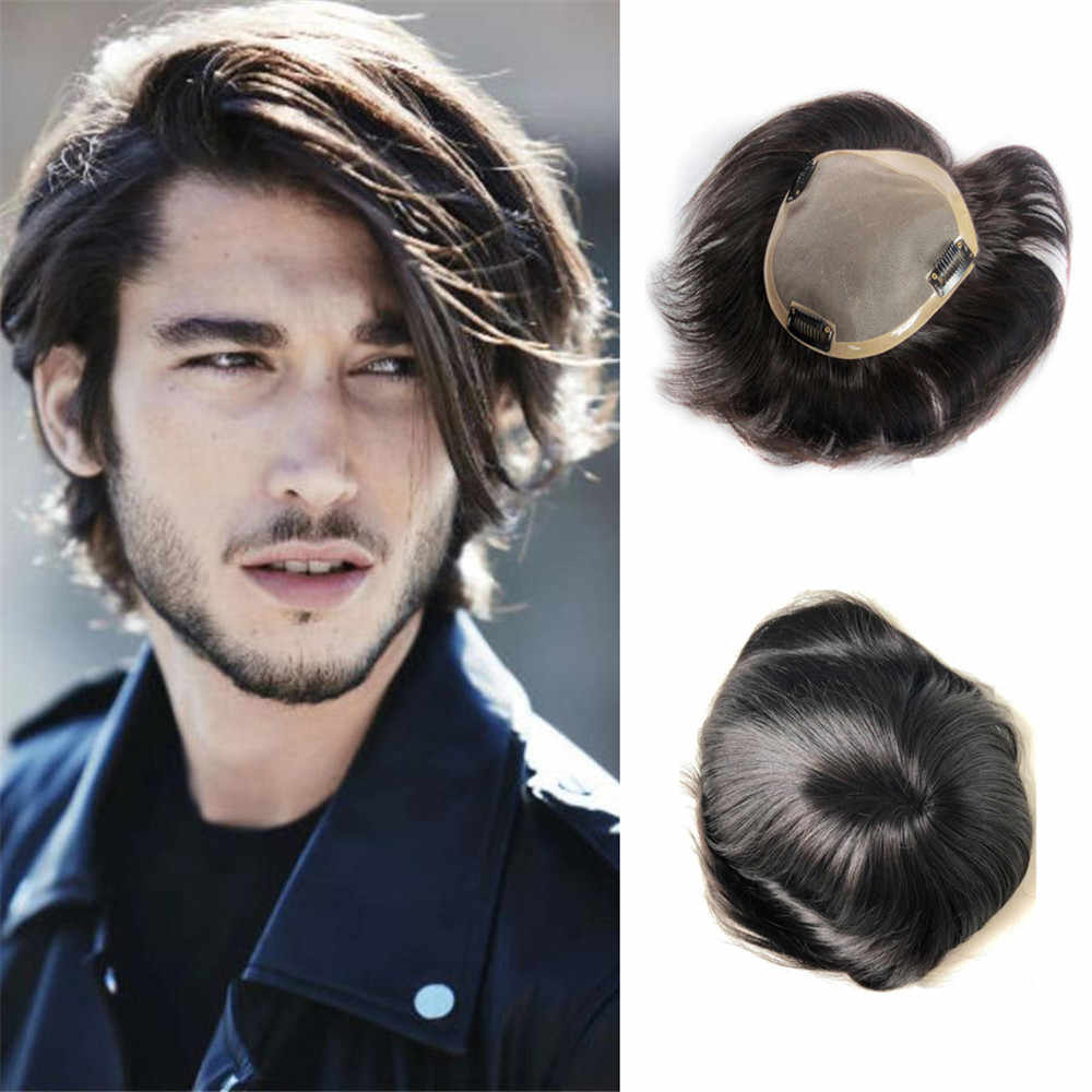 BYMC Remy Human Hair Mens Toupee Mono Toupee Natural Hairline Lace With PU Replacement System With Clips