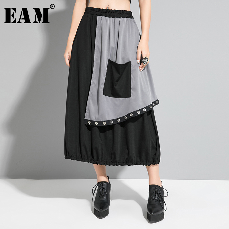 [EAM] High Elastic Waist Black Contrast Color Split Pocket Half-body Skirt Women Fashion Tide New Spring Autumn 2020 1R636