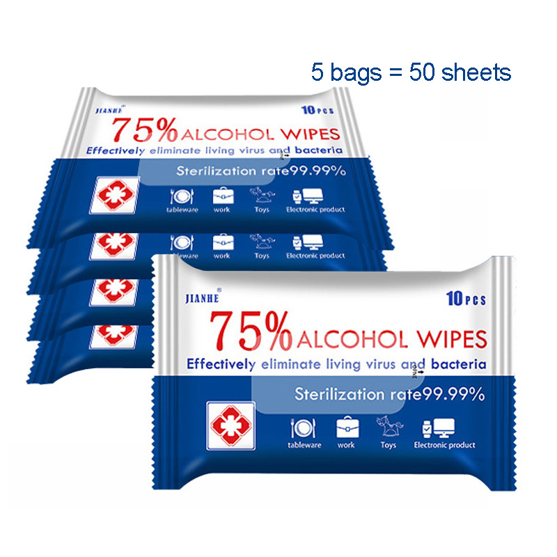 5 Bags 75% Alcohol Wipes Safety Certificate Portable Hand Towel Swabs Pads Disinfection Wipes Antiseptic Cleaning Sterilization