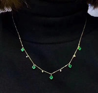 fashion simple chain fruit Natural green Emerald Necklace Natural Gemstone Pendant Necklace 925 sliver women party gift Jewelry