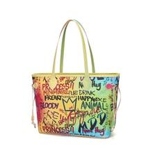 caviar graffiti shoulder bags luxury handbags women Famous brand designer Rainbow female leather high quality large a bag