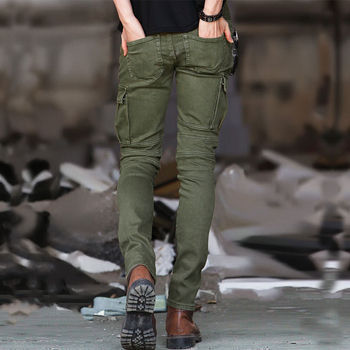 Fashion Motor Biker Skinny Mens Zipper Pleated Cargo Pants Army Green Slim Fit Male Stretchy Military Tactical Trousers