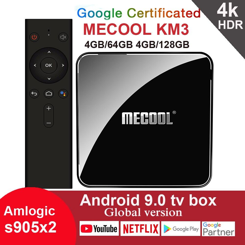 MECOOL KM3 Smart Android 9.0 TV Box Google Certificated Amlogic S905x2 Quad Core 4GB64GB 4GB128GB 2.4G 5G Wifi Netflix Youtube