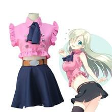 Disfraz cosplay de anime DE LOS Seven Sins para mujer, disfraz de elizabeth liones, uniforme para cosplay de Halloween, traje, ropa + pendiente