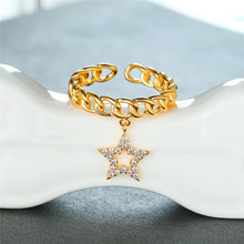 Trendy Female White Crystal Adjustable Ring Charm Rose Gold Silver Wedding Rings For Women Dainty Star Pendant Engagement Ring trendy plated white gold environmental alloy narrow width crystal ring