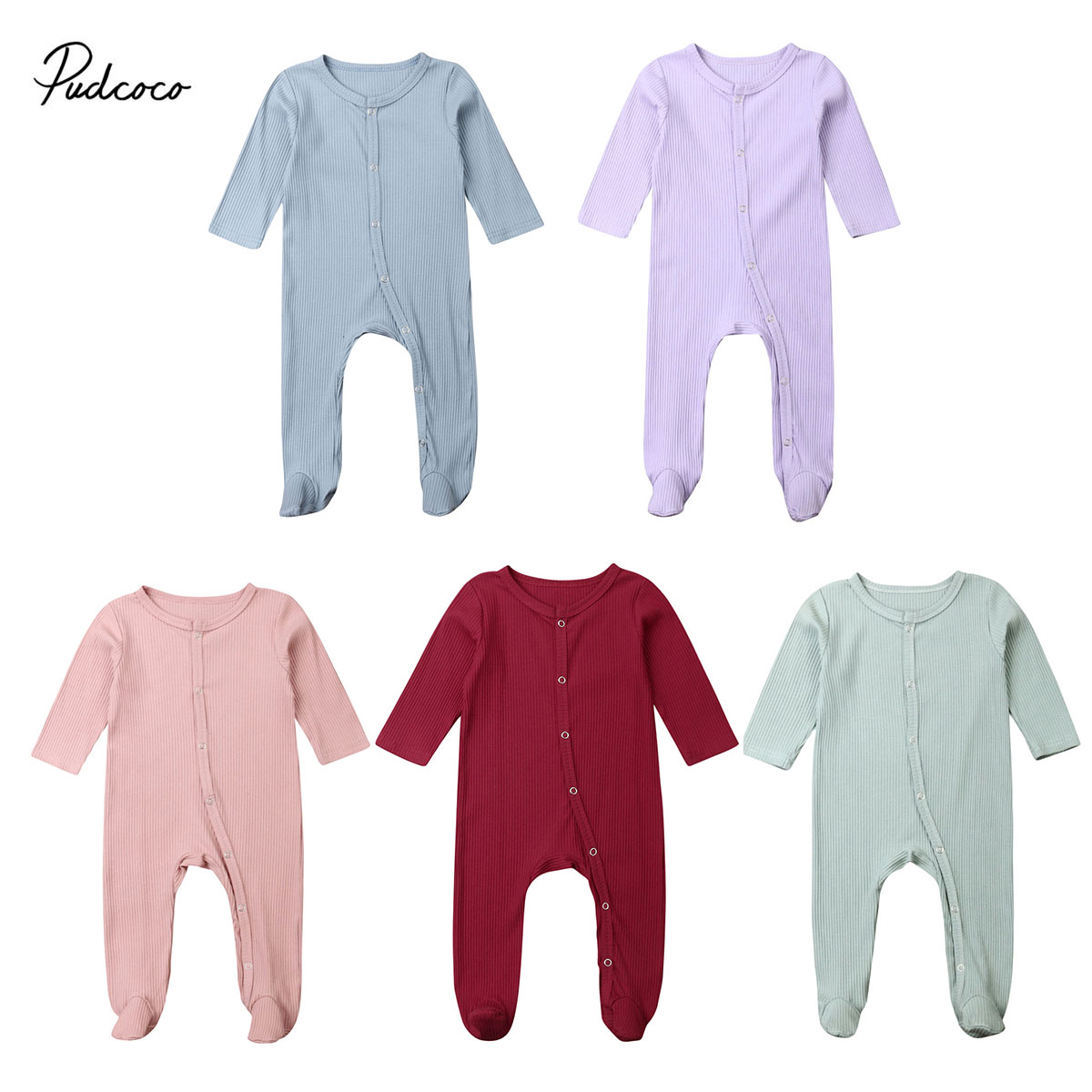 0-6M Newborn Infant Baby Boys Girls Long Sleeve Footies Solid Ribbed Jumpsuit Outfit Clothes Sunsuit Spring Autumn Clothing