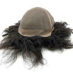 Haar pruik mannelijke aangepaste grote cap toupee menselijk haar mono kant basis vrouwen pruik