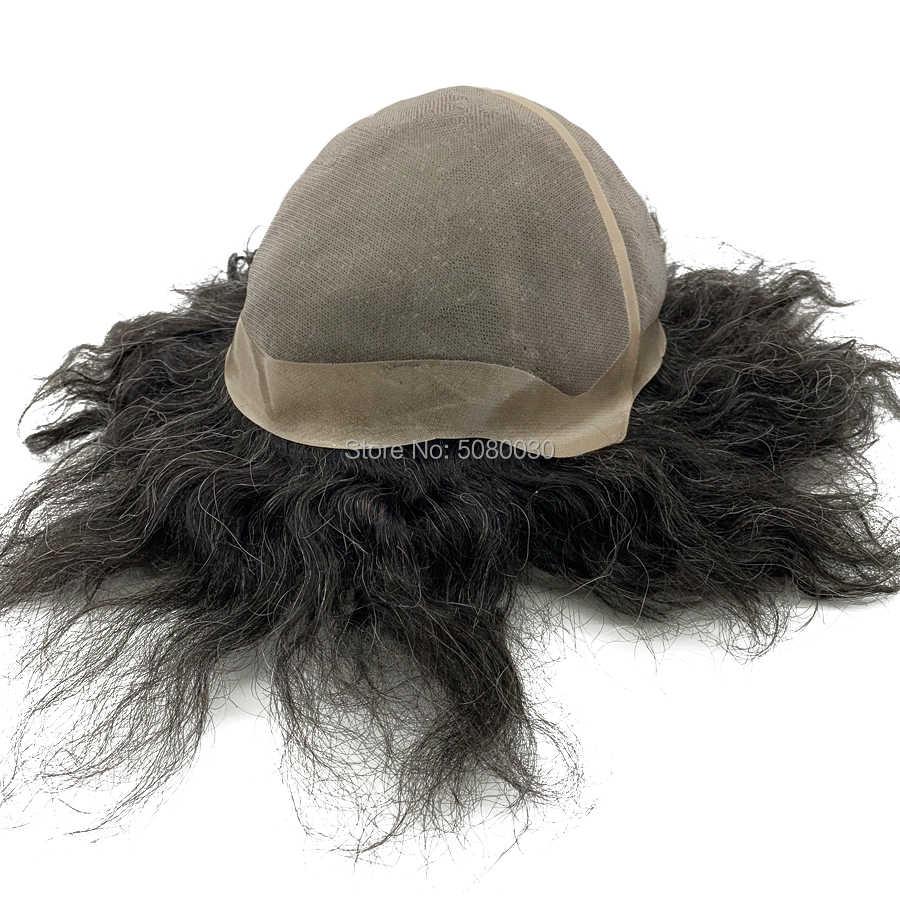 Peluca de pelo para hombre personalizada con tapa grande Peluca de pelo humano mono con base de encaje para mujer