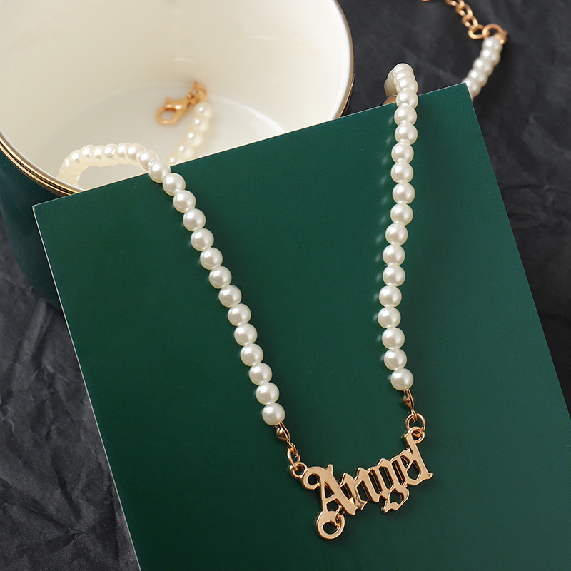 KPOP Letter Angel Pearl Necklace Female2021Retro Fashion Temperament Wedding Banquet Valentine's Day Mother's Day All-Match Gift