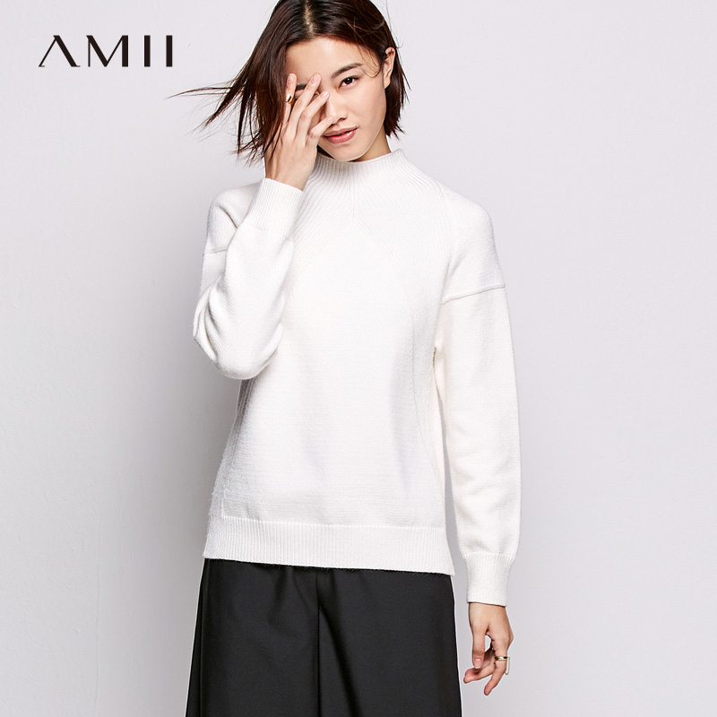 Amii Minimalism Fall Winter Solid Knit Sweater Causal Stripe Full Sleeves Slim Knit Pullover 11745006