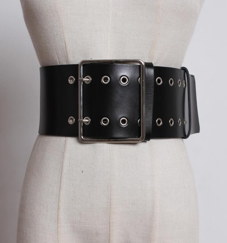 Women's Runway Fashion Genuine Leather Cummerbunds Female Dress Corsets Waistband Belts Decoration Wide Belt R1848