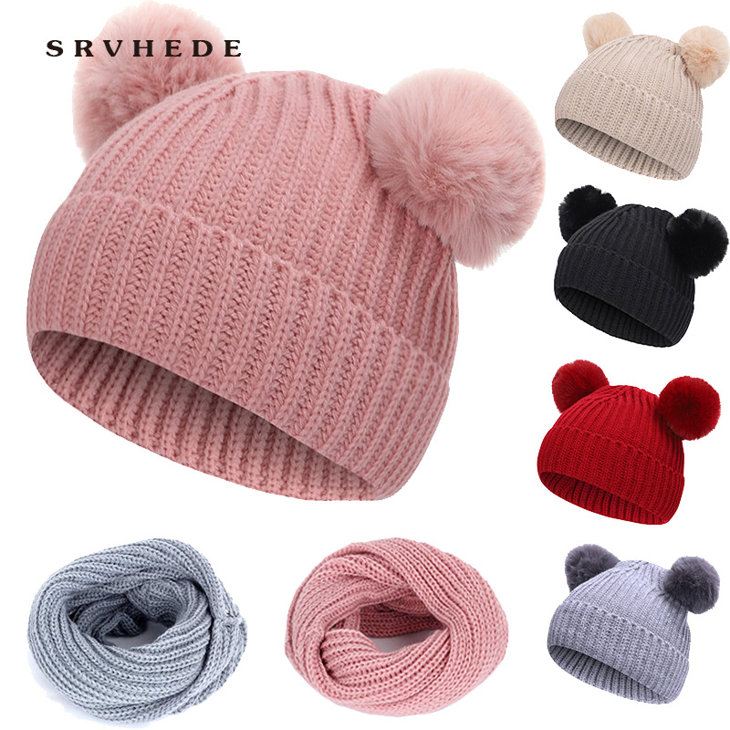 2019 New 2 Piece Winter Children's Knitted Hat Scarf Fur Baby Beanies Cotton Pom Pom Knit Warm Cap Kids Furry Ball Hat Bonnet